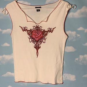 Fang- Red Sparkle Rose Graphic White Tank Large